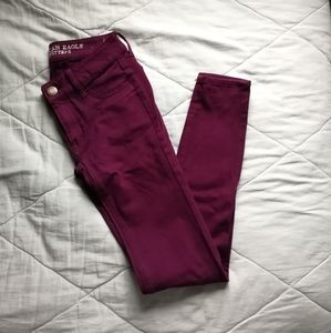 Burgundy Knit Jeggings Cotton Blend Size 00  | AE